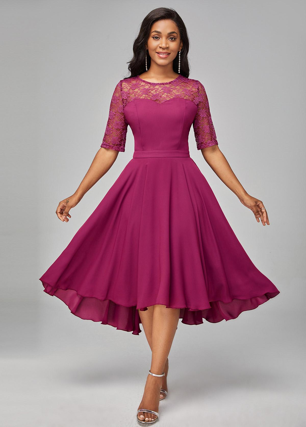 Lace Patchwork Solid Asymmetric Hem Dress