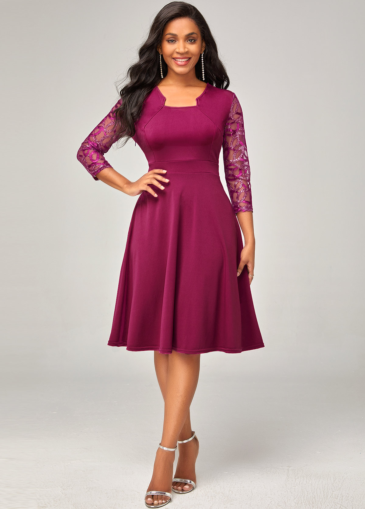 Lace Stitching 3/4 Sleeve Solid Dress