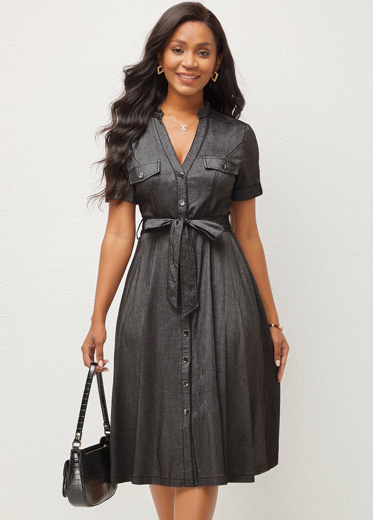 V Neck Button Up Short Sleeve Dress