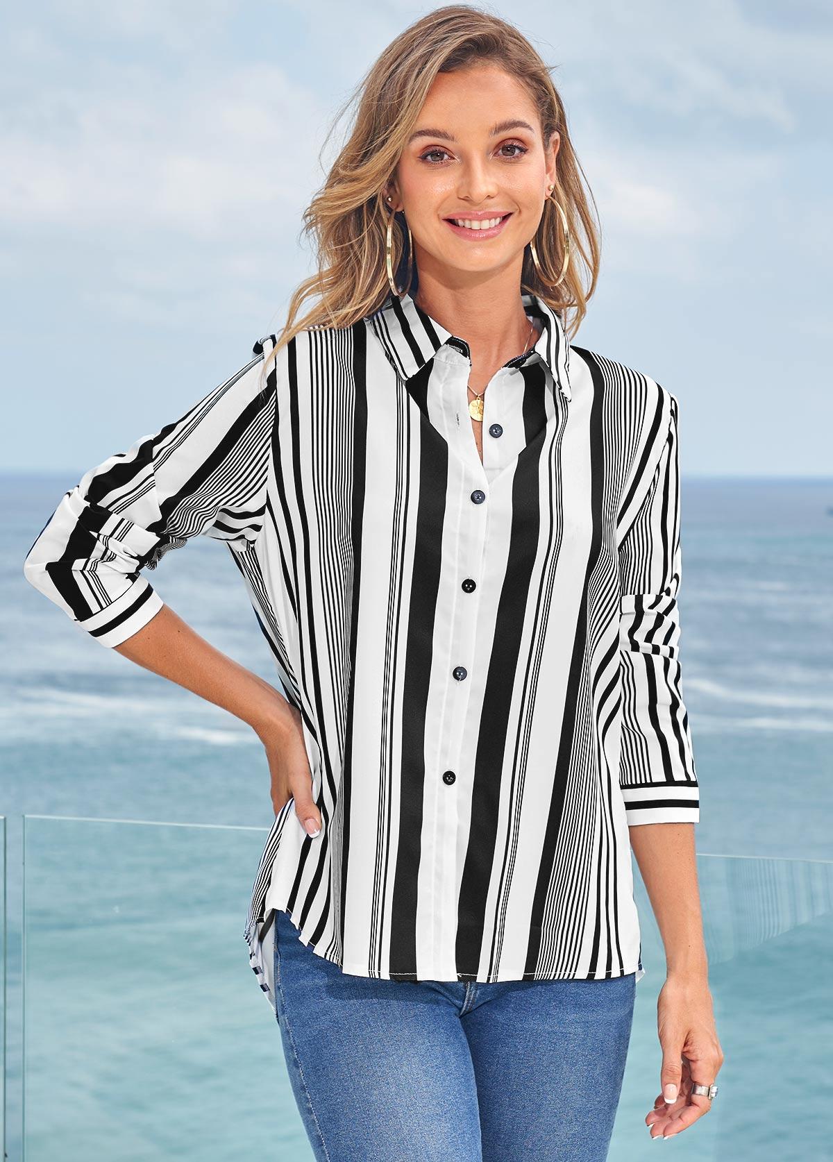 Turndown Collar Long Sleeve Striped Blouse