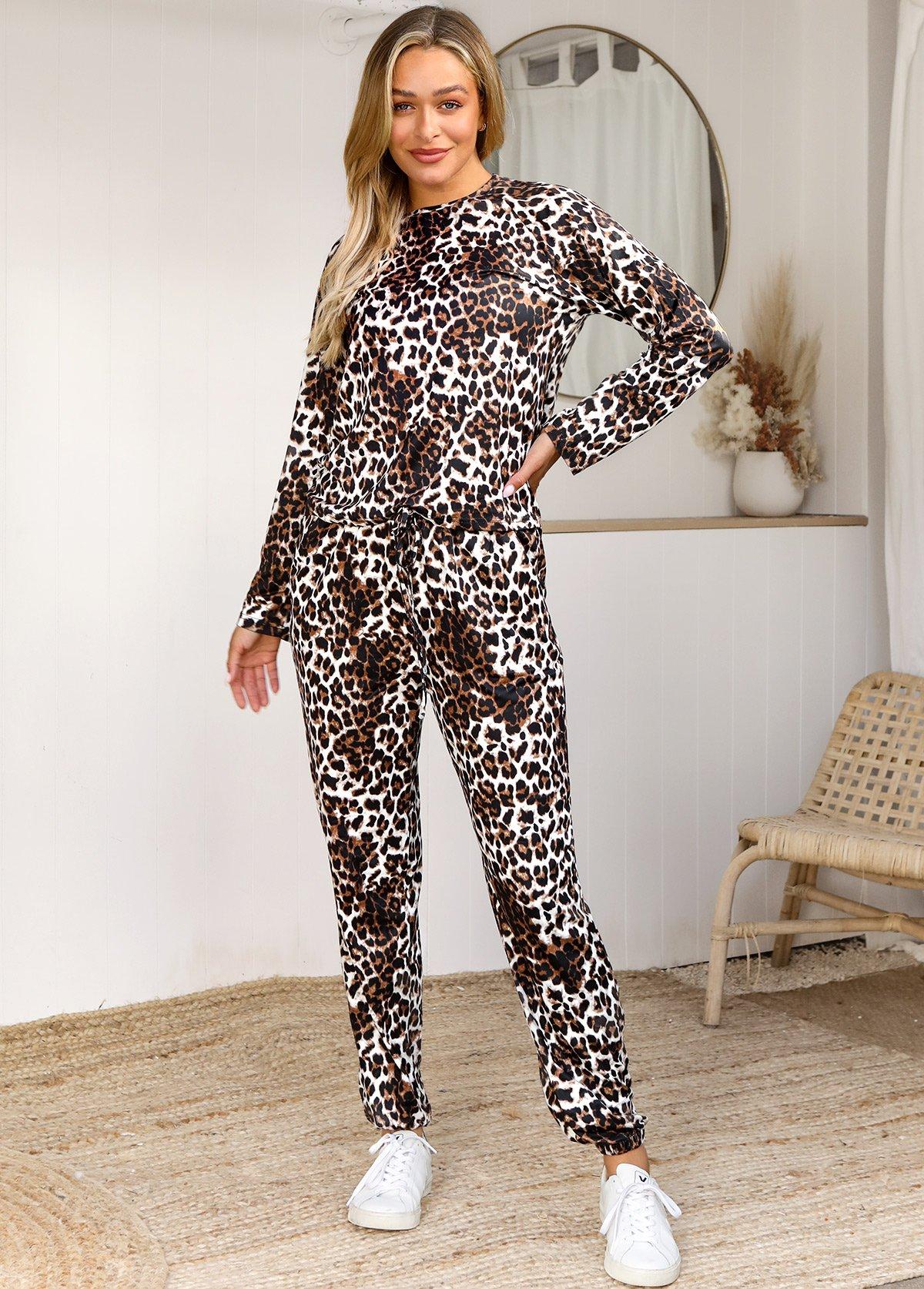Leopard Long Sleeve Drawstring Waist Loungewear Set