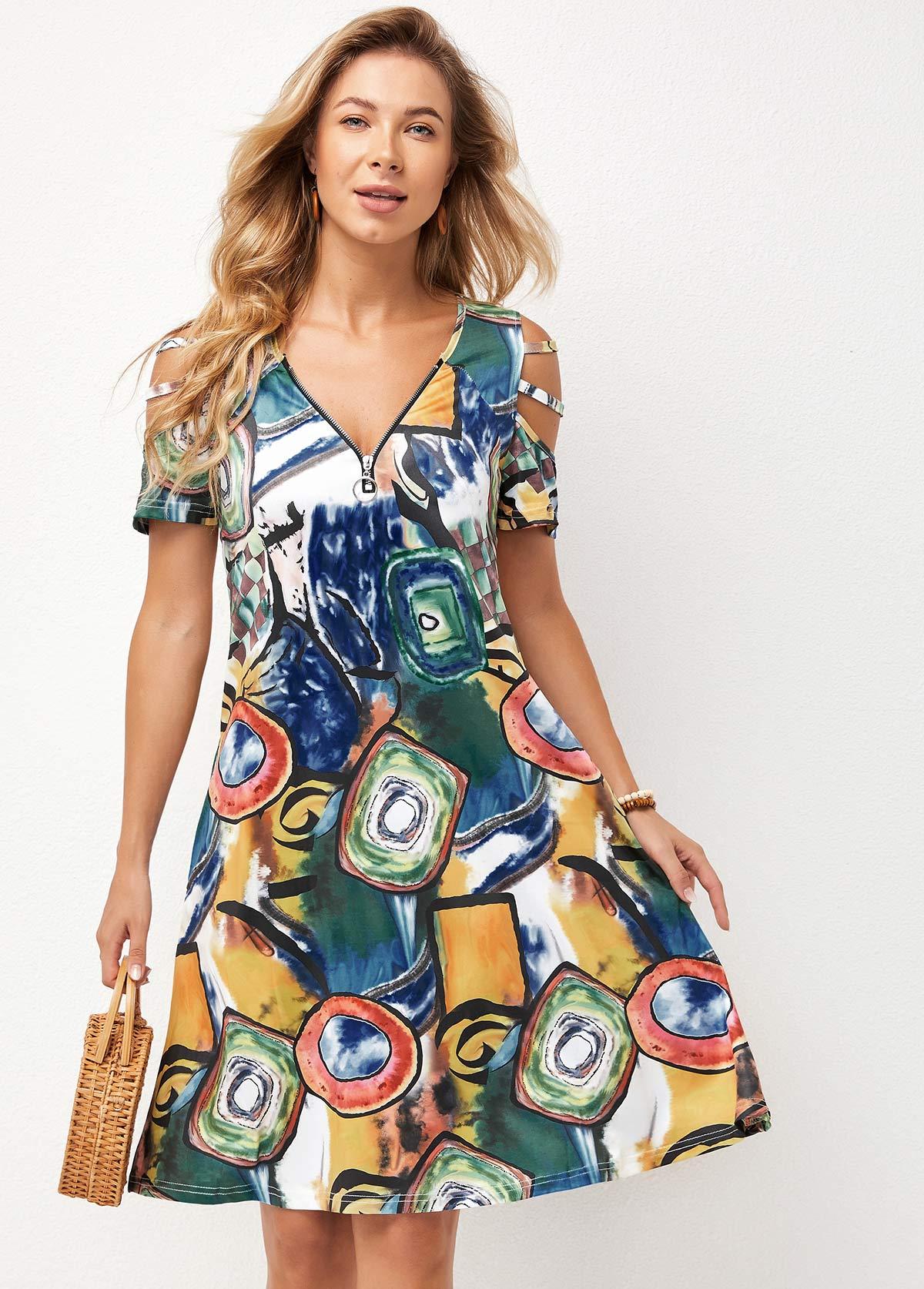Ladder Cutout Quarter Zip Double Side Pocket Dress
