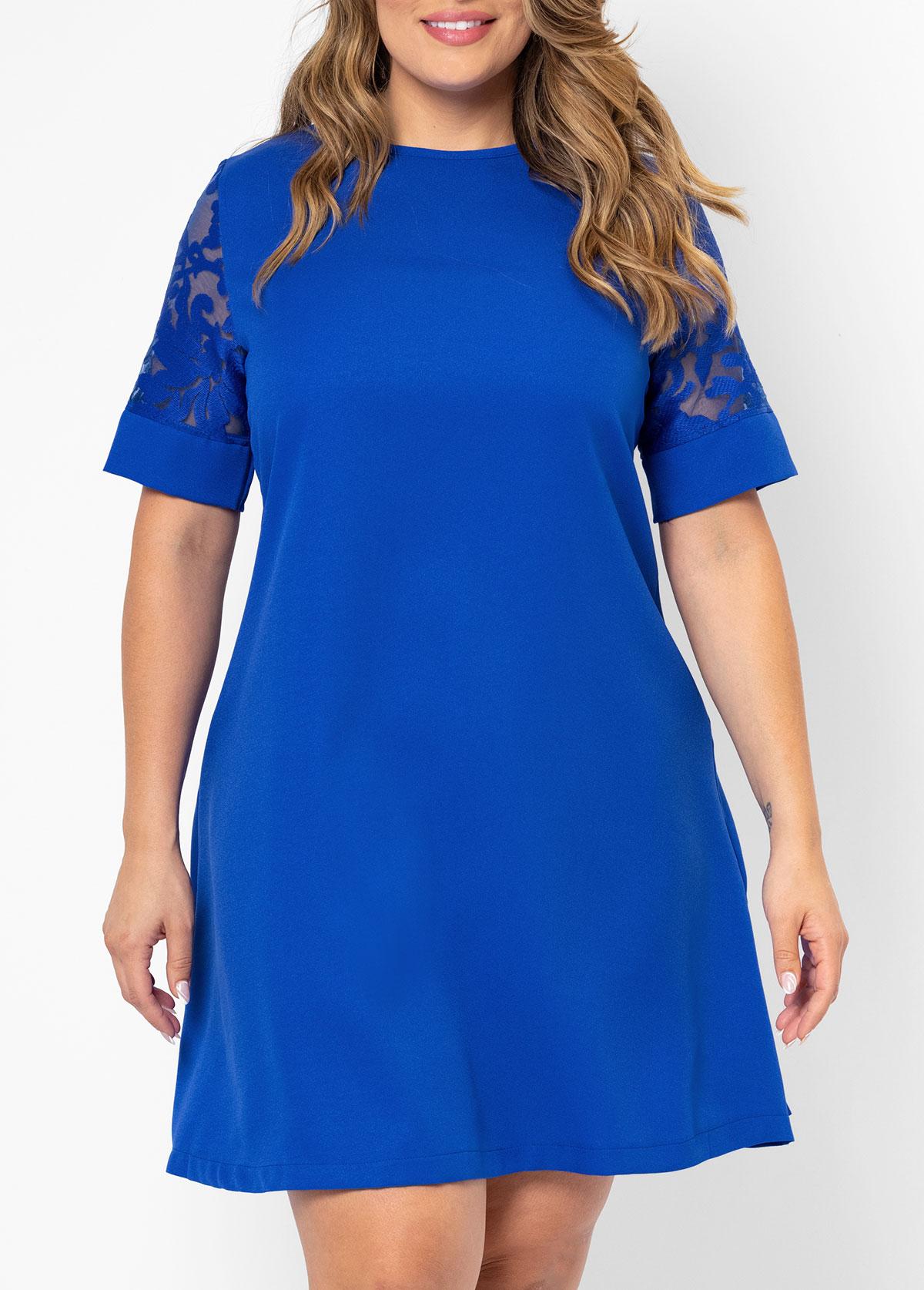 Plus Size Lace Stitching Short Sleeve Dress