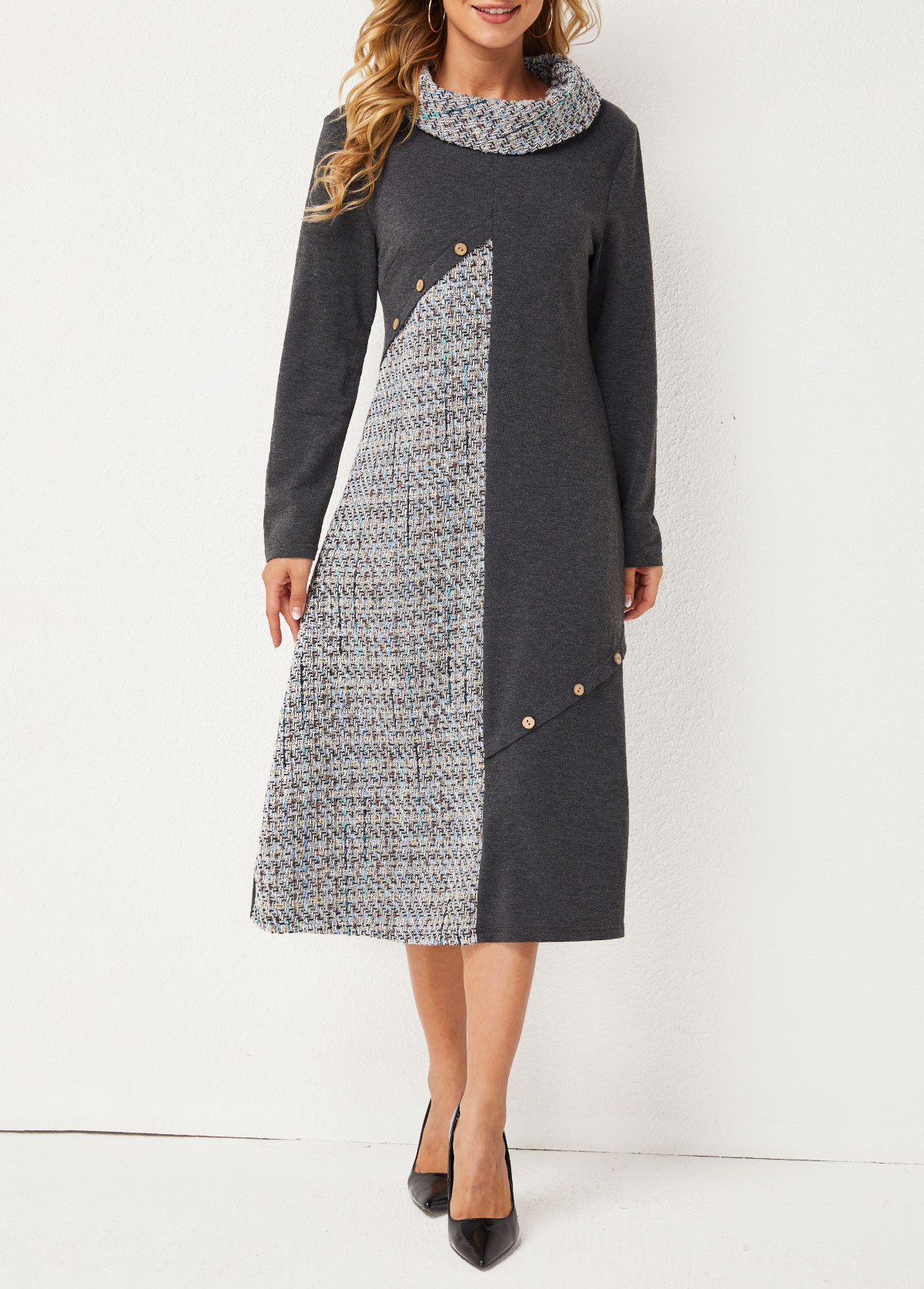 Inclined Button Cowl Neck Contrast Dress