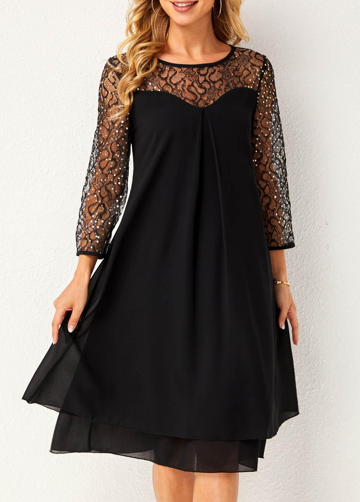 Lace Stitching Round Neck Layered Hem Dress