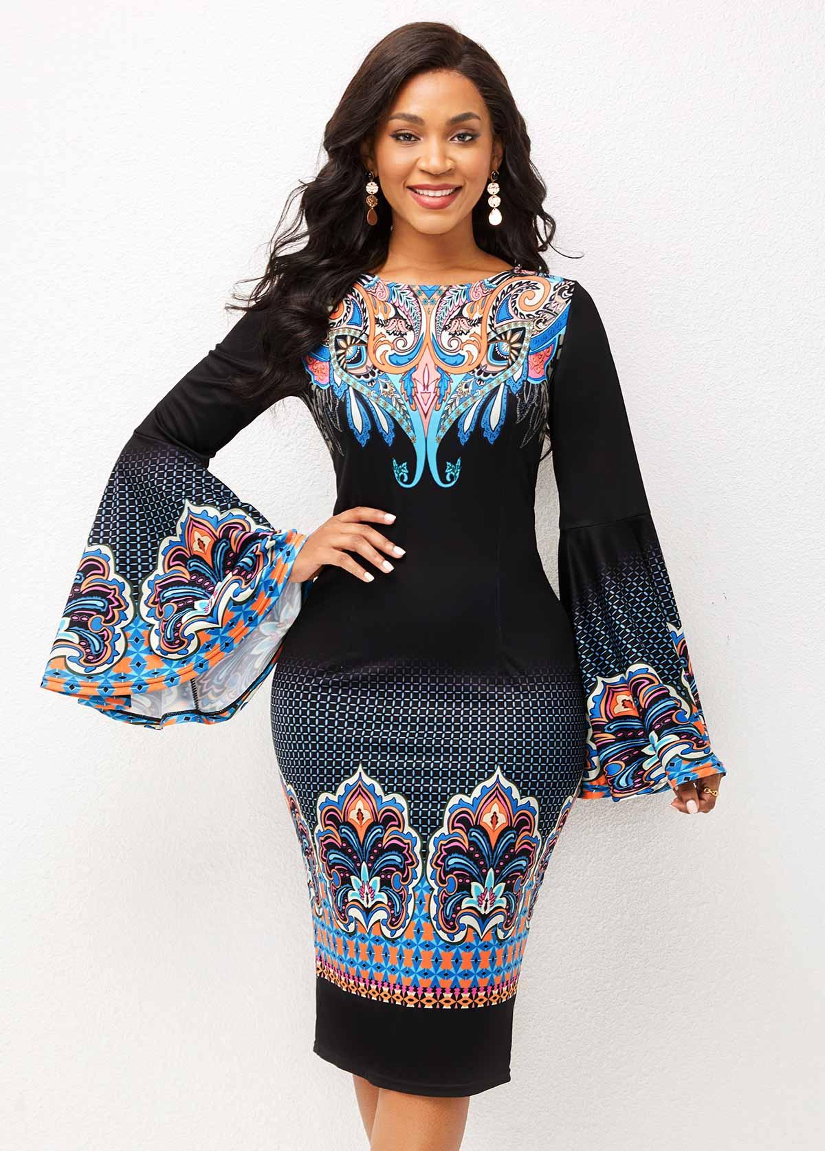 Flare Sleeve Tribal Print Round Neck Dress