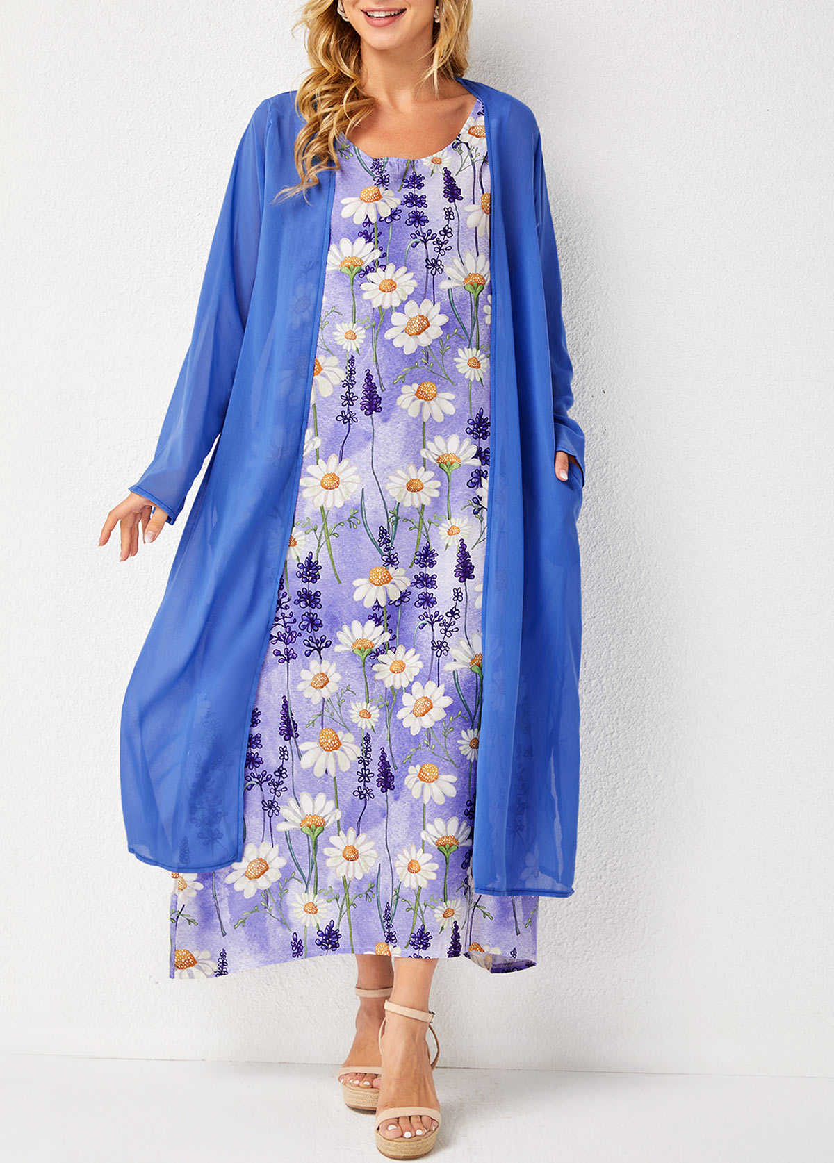Pocket Detail Solid Cardigan and Floral Print Sleeveless Dress