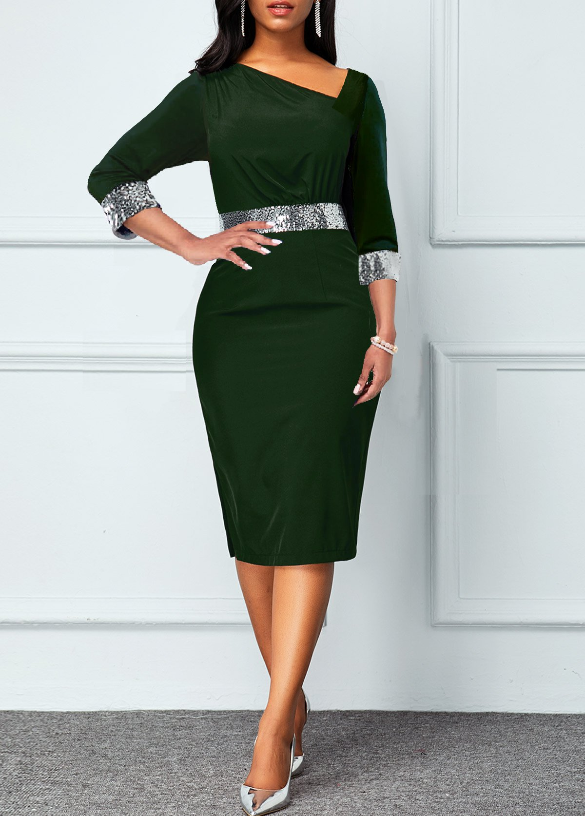 Sequin V Neck 3/4 Sleeve Dress