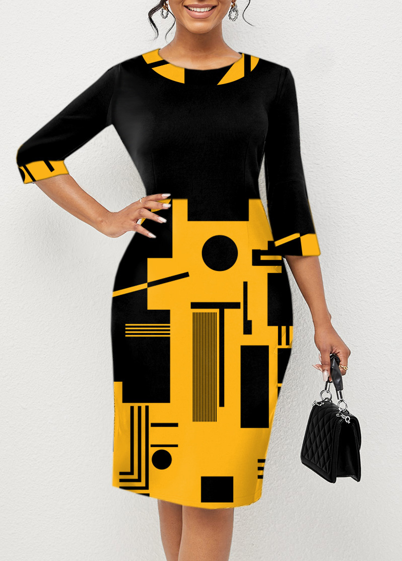Geometric Print 3/4 Sleeve Round Neck Dress