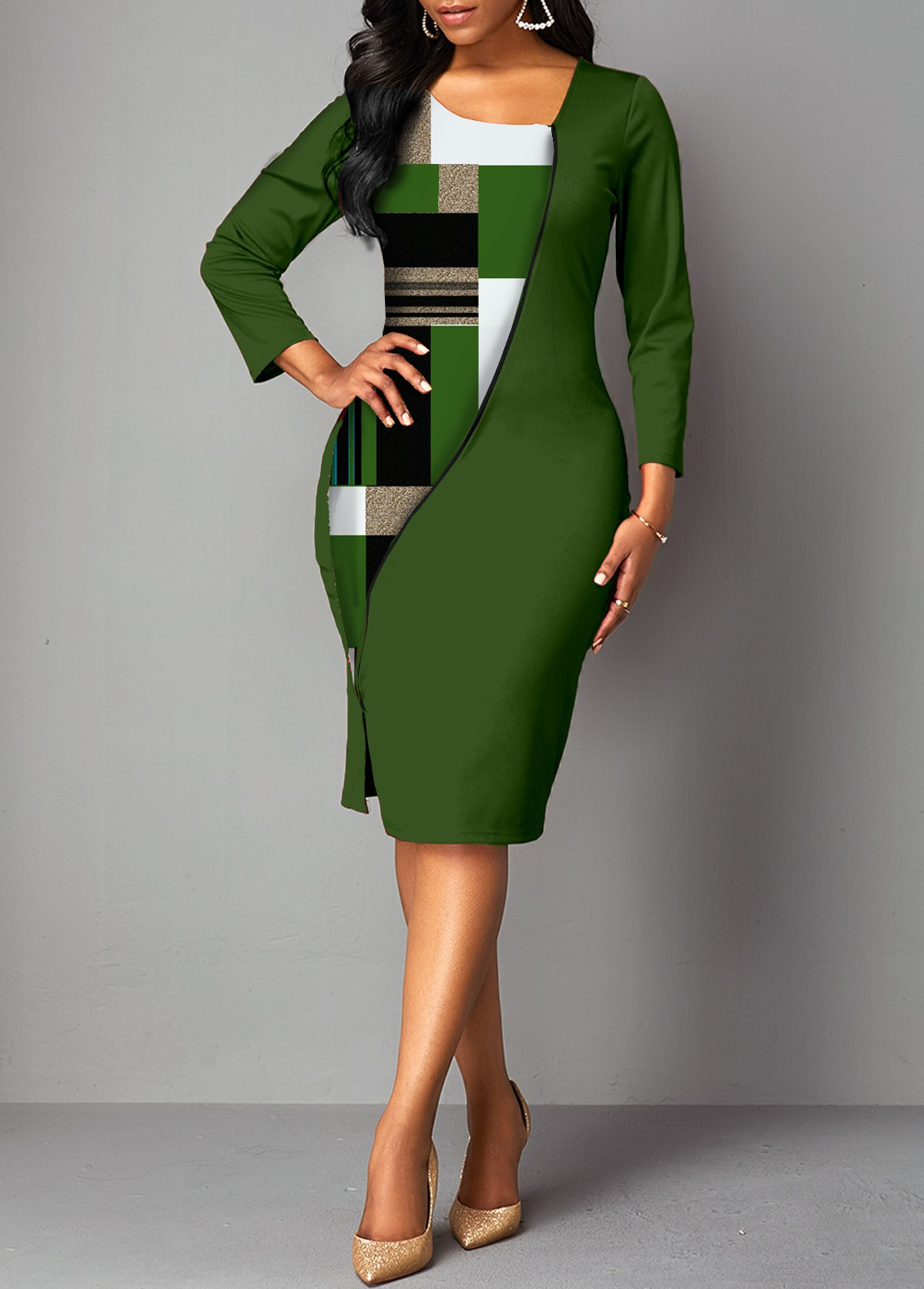 Geometric Print 3/4 Sleeve Bodycon Dress