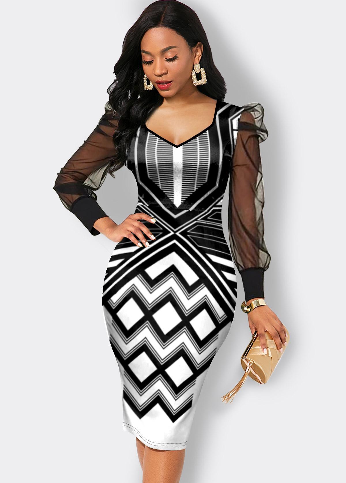 Mesh Stitching Chevron Print Long Sleeve Dress