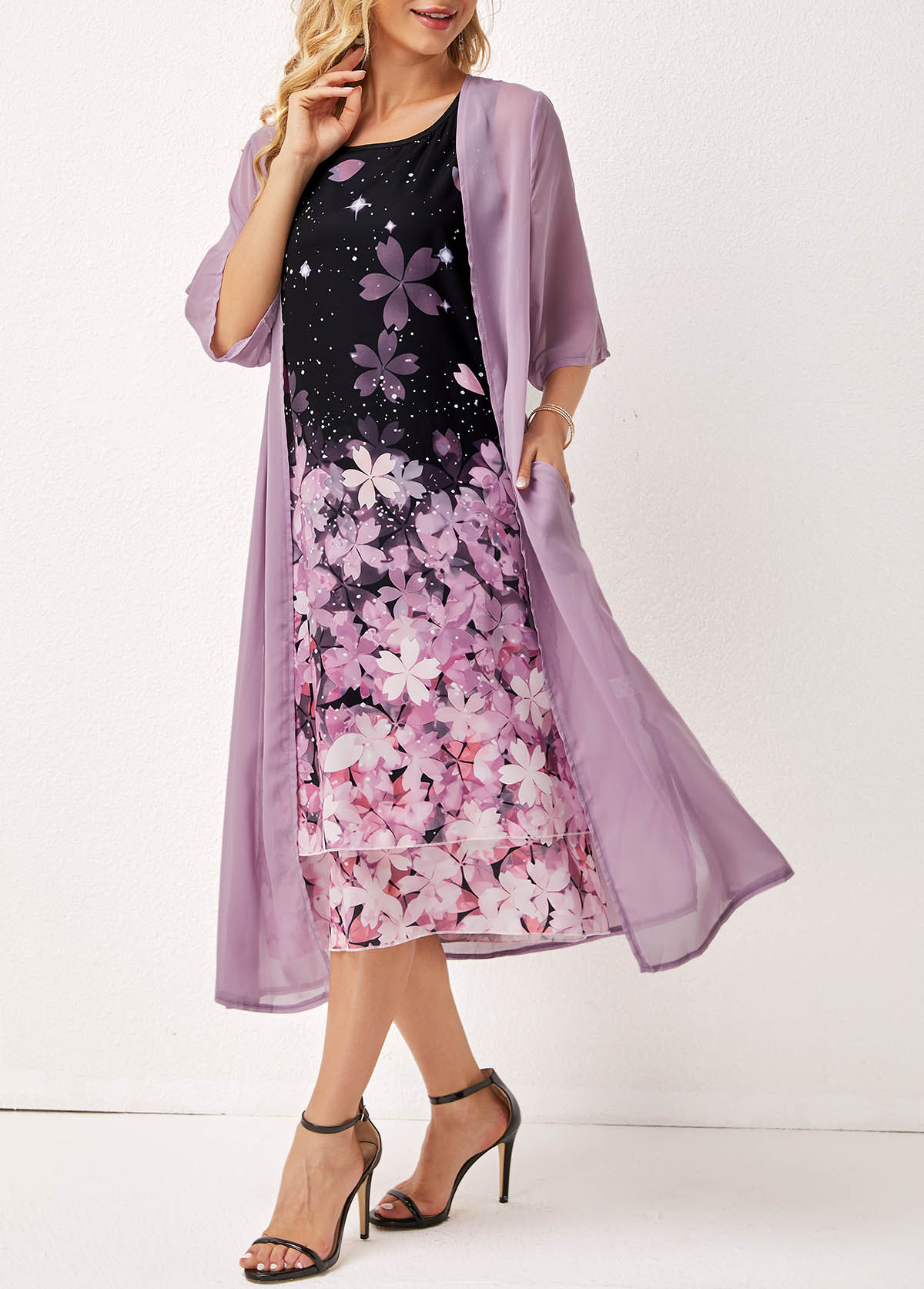 Layered Floral Print Three Quarters Sleeve Round Neck Dress