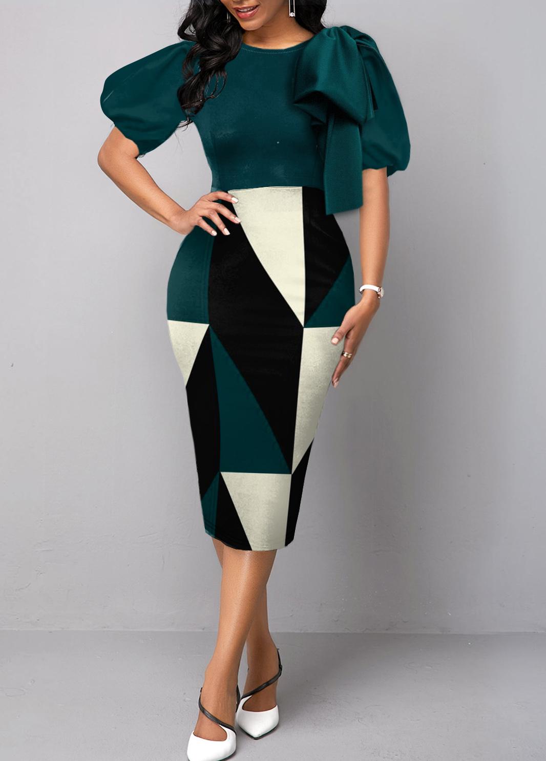 Geometric Print Bowknot Short Sleeve Bodycon Dress
