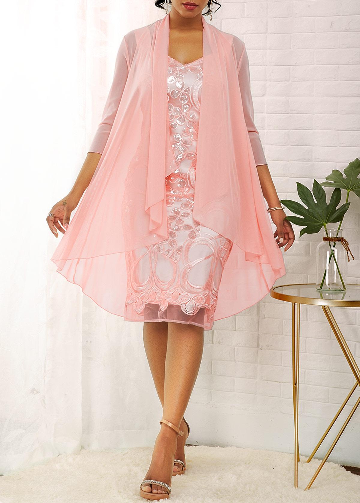 3/4 Sleeve Cardigan and Glitter Fabric Stitching Dress