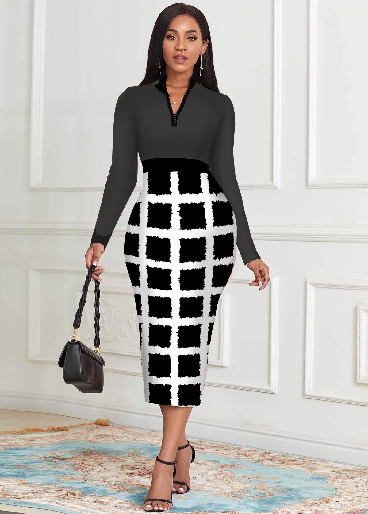 Checkered Long Sleeve Zipper Detail Dress