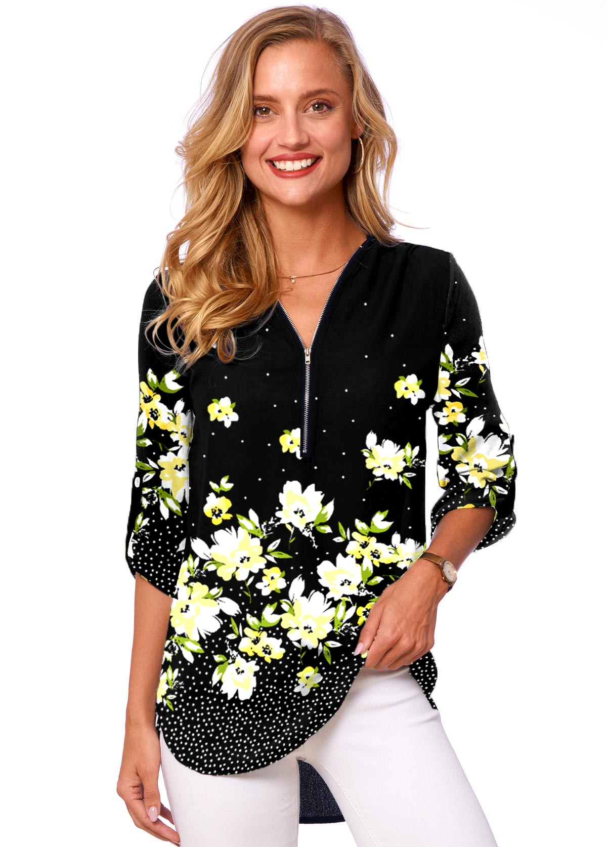 Floral Print Quarter Zip 3/4 Sleeve Blouse