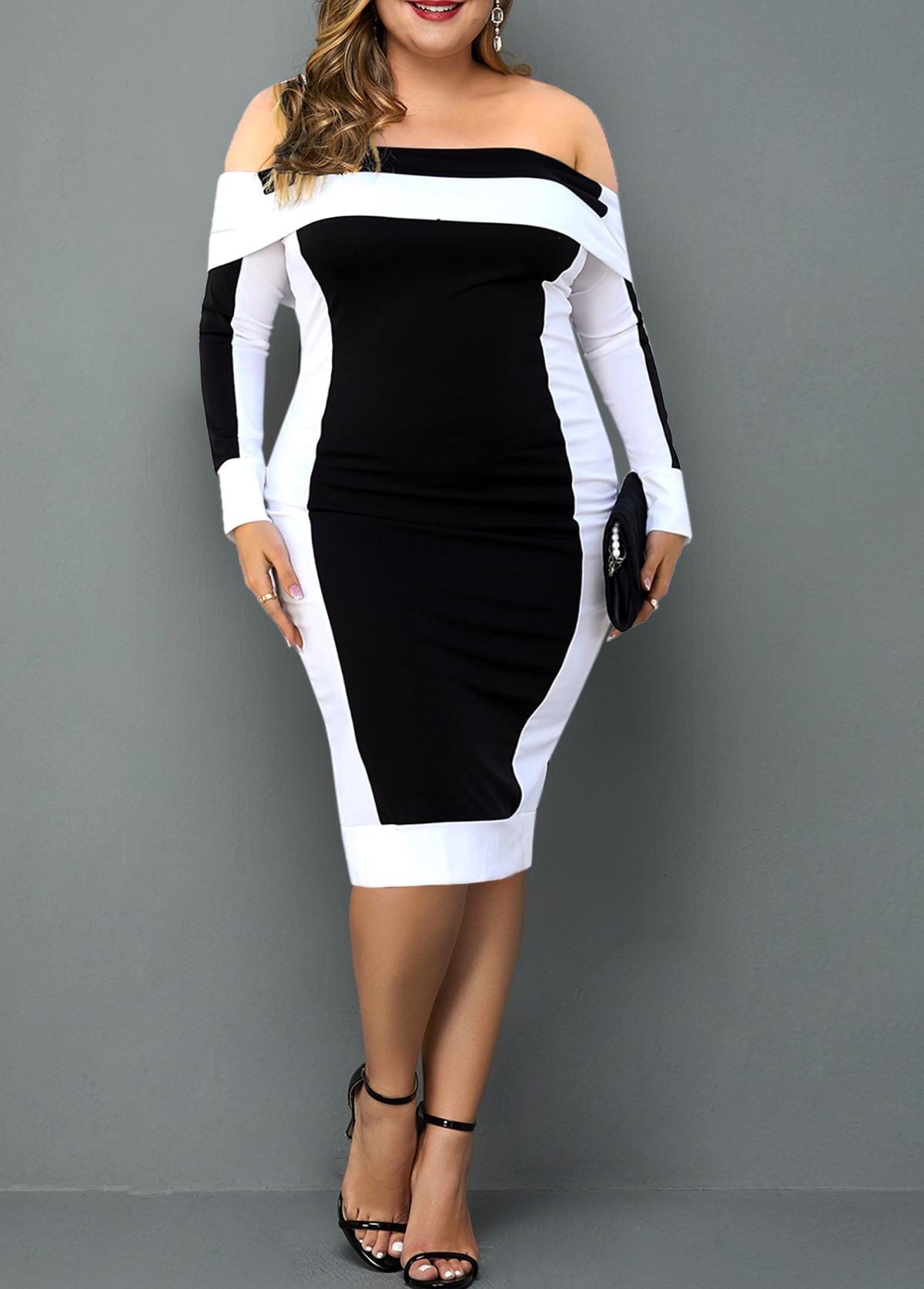 Off Shoulder Plus Size Contrast Dress