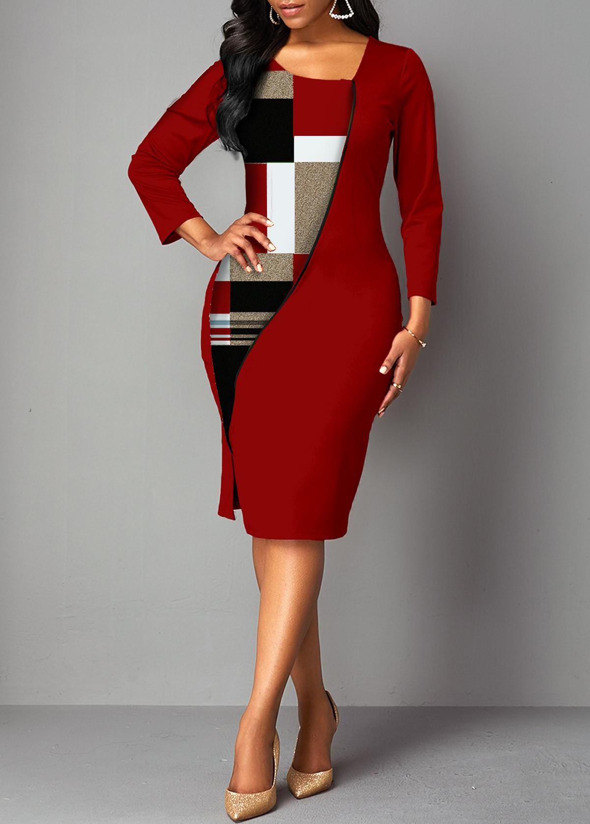 Plaid 3/4 Sleeve Side Slit Bodycon Dress