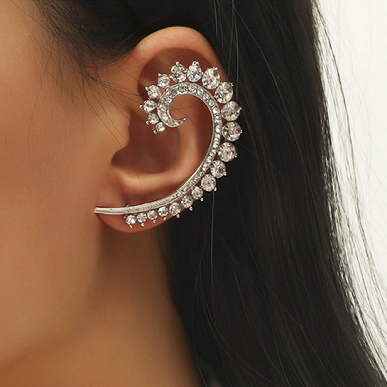 Silver Metal Detail Rhinestone Design Earring