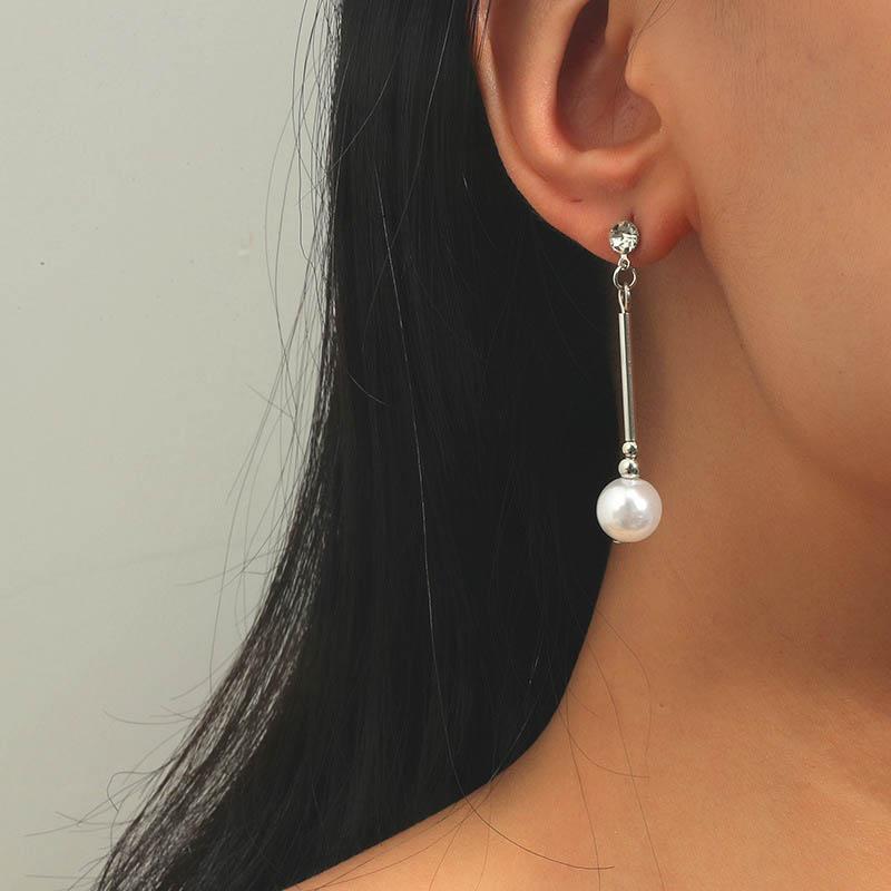Pearl Design Metal Detail Rhinestone Earring Set