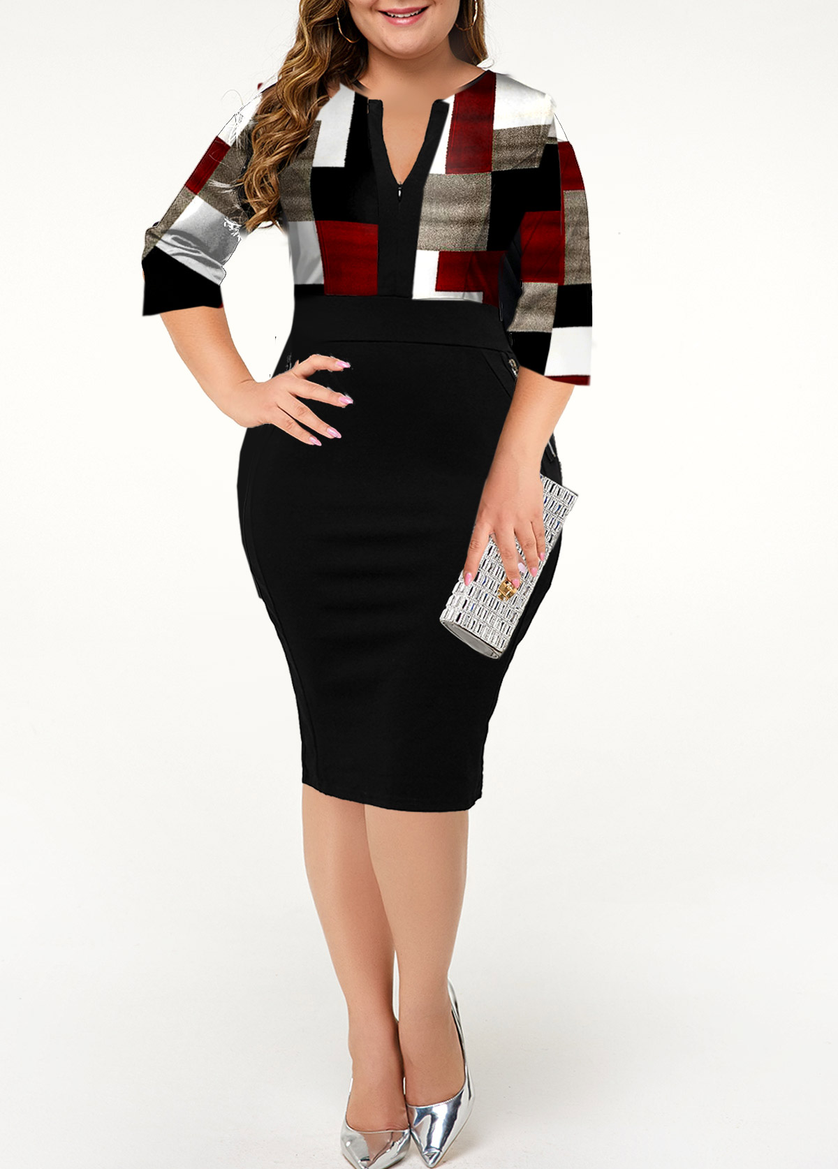 Plus Size Geometric Print Split Neck Dress