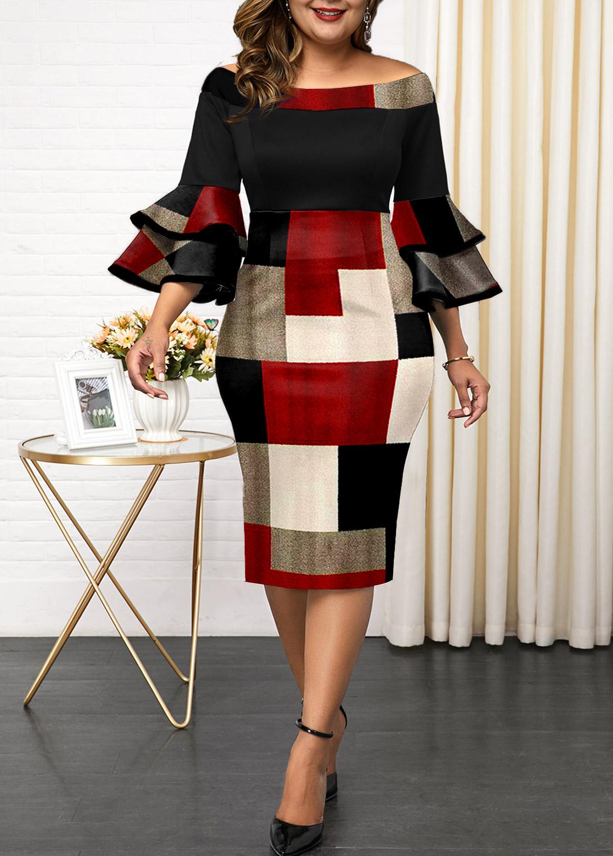 Plus Size Layered Bell Sleeve Geometric Print Dress