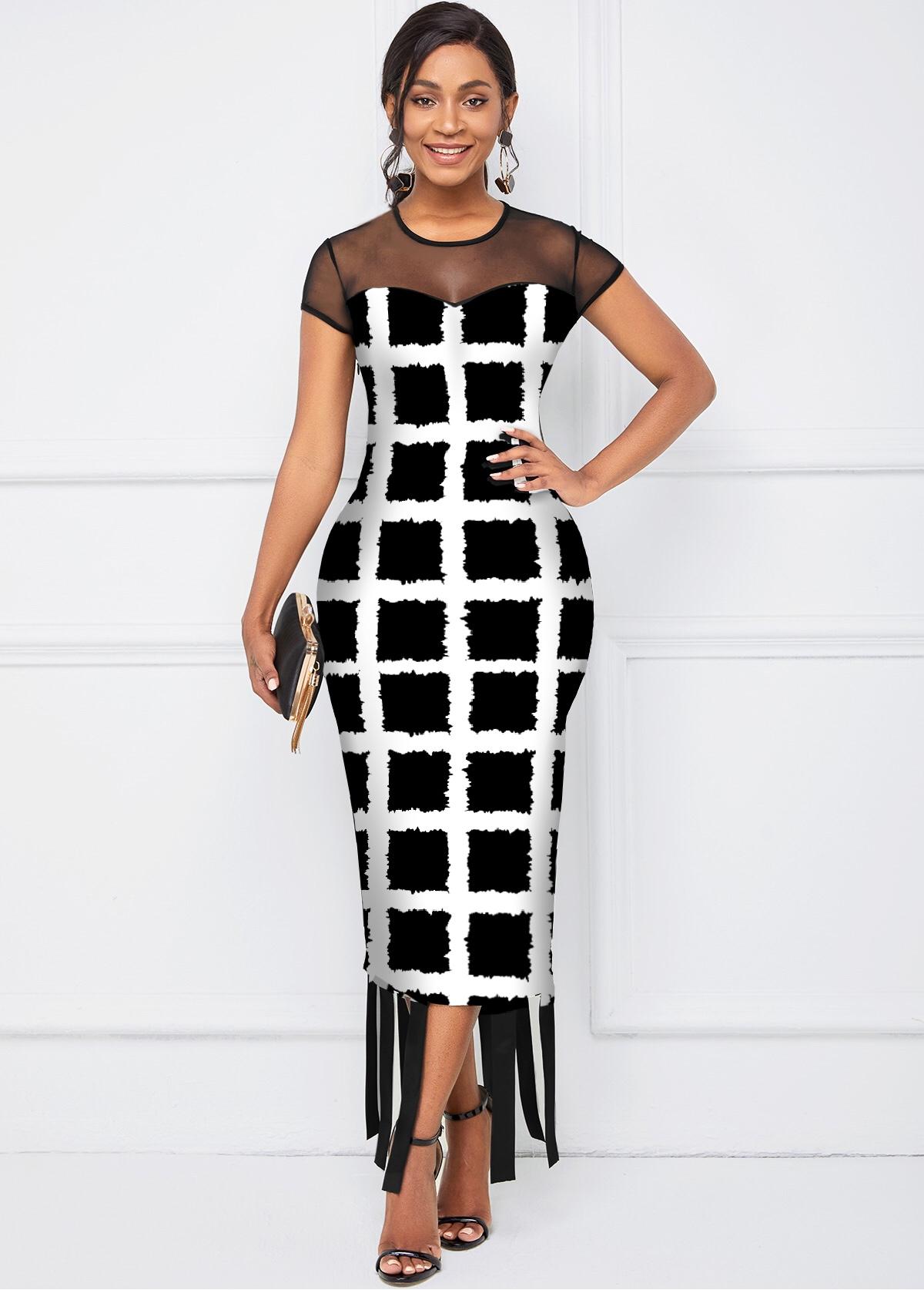 Short Sleeve Round Neck Checkered Dress