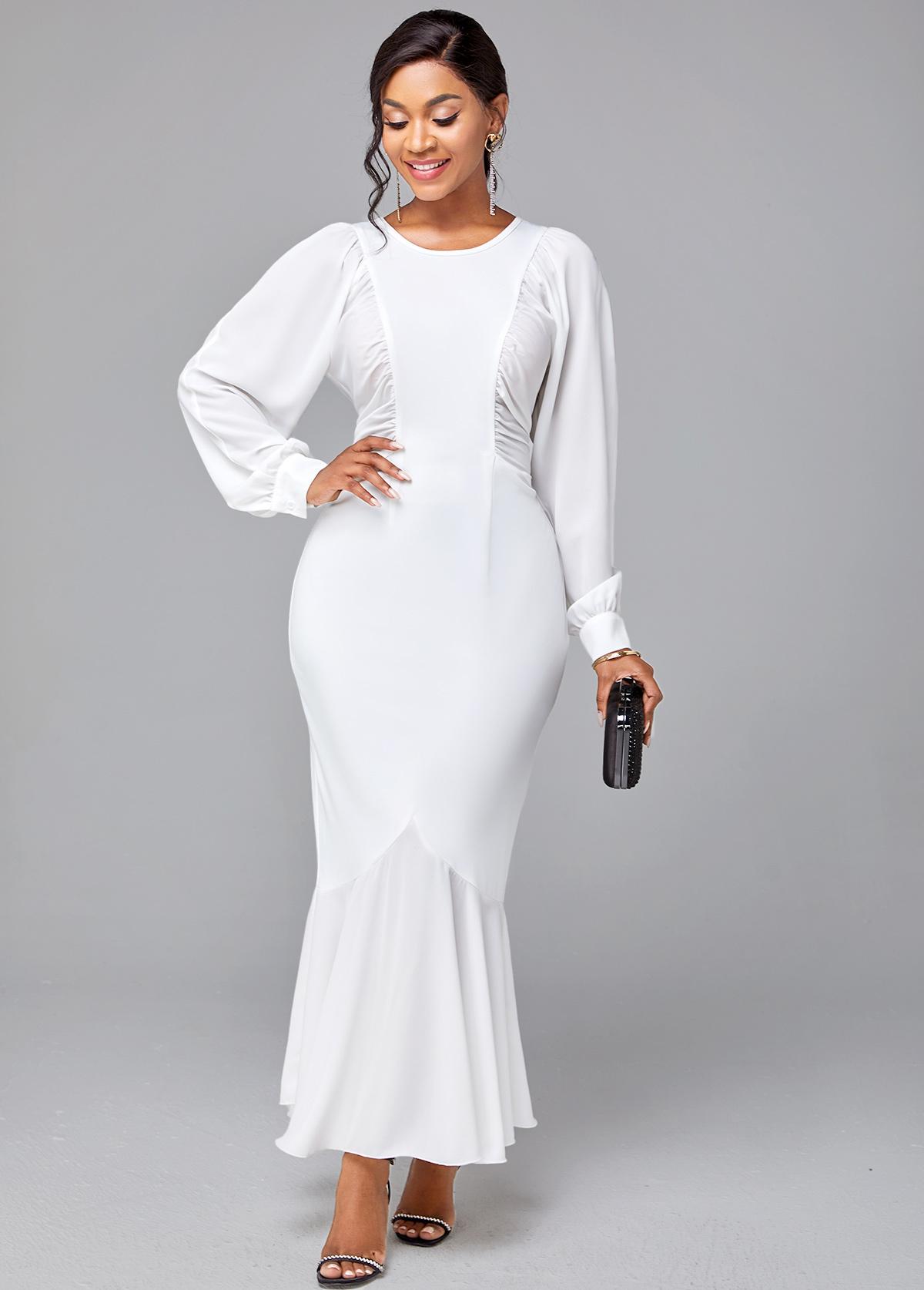 Solid Long Sleeve Round Neck Mermaid Dress