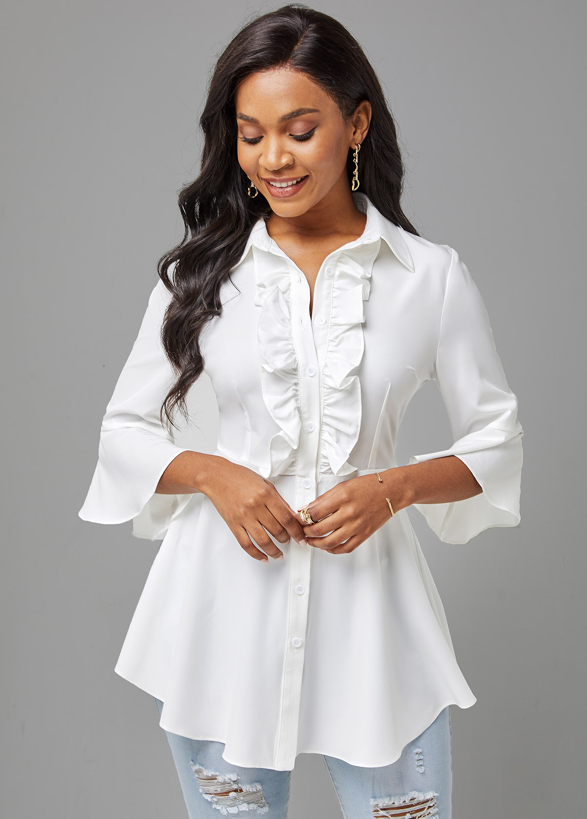 Stringy Selvedge Button Up Flare Sleeve Blouse