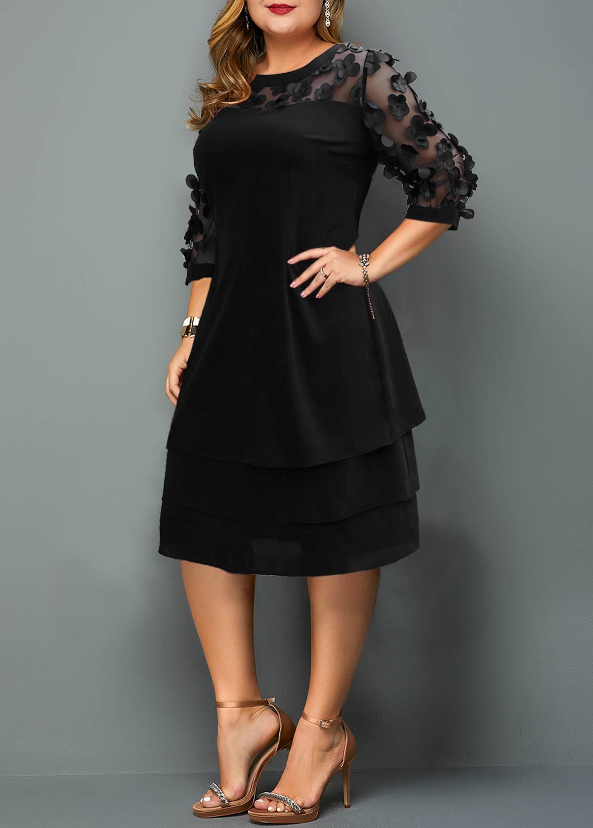 Plus Size Mesh Stitching Layered Hem Dress