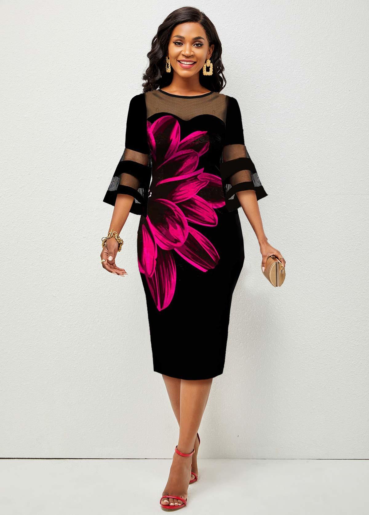 Floral Print Mesh Stitching Flare Sleeve Dress