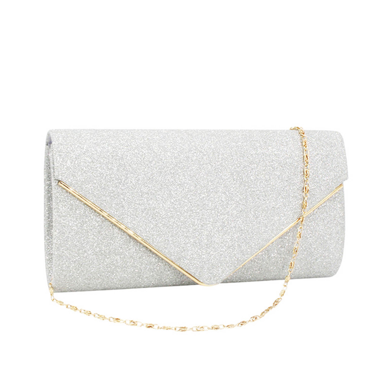 Gold Chain Design Silver Glitter Fabric Evening Bag