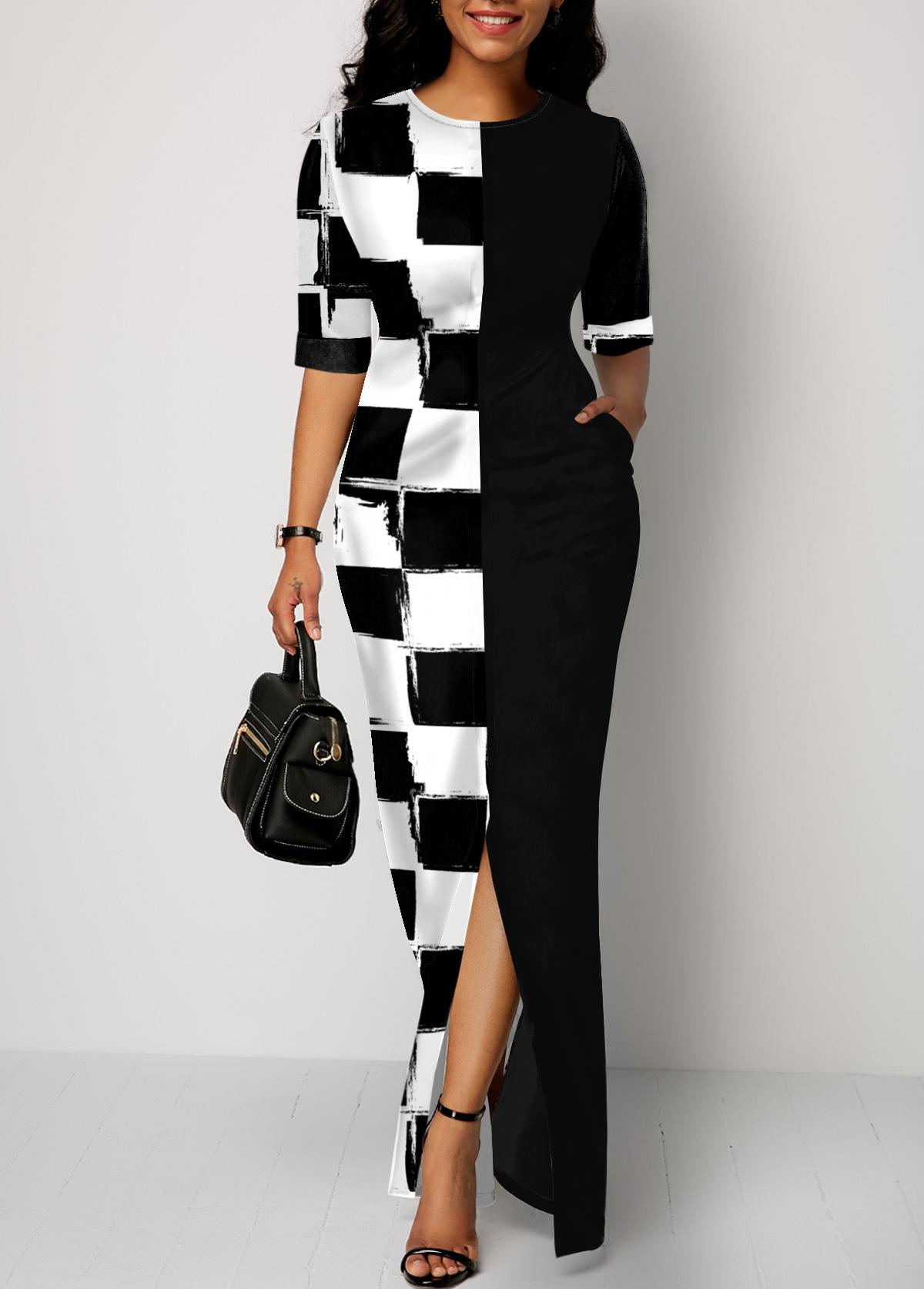 Pocket Checkered Round Neck Half Sleeve Dress