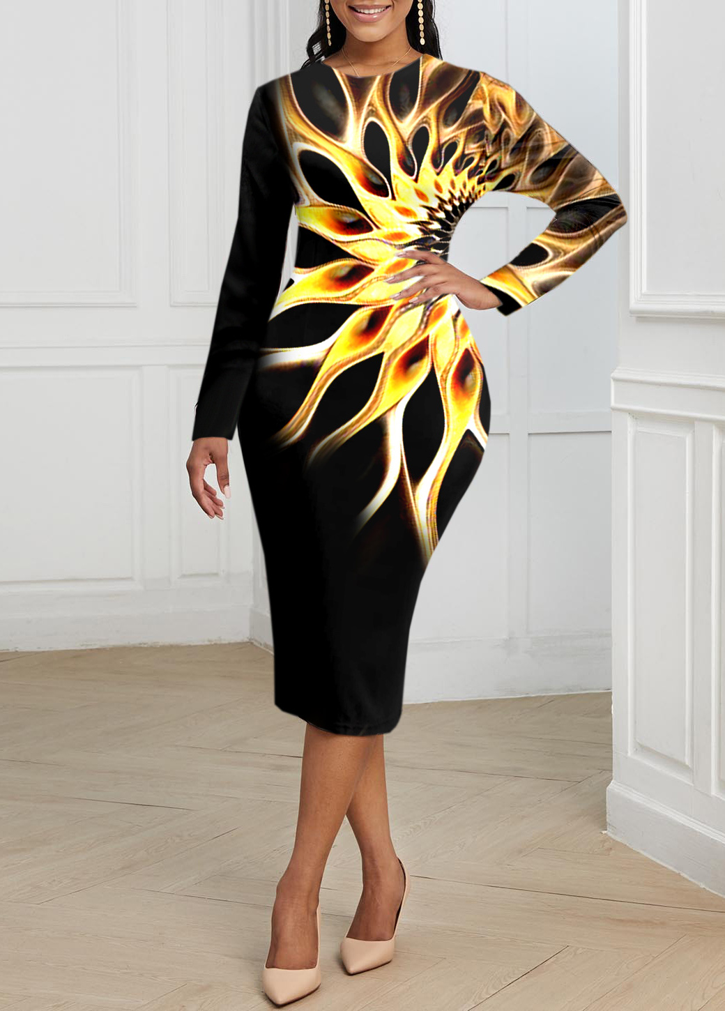 Colorful Long Sleeve Round Neck Dress