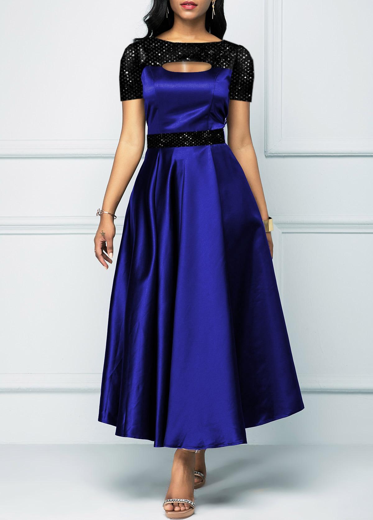 Sequin Cutout Neck Short Sleeve Dress
