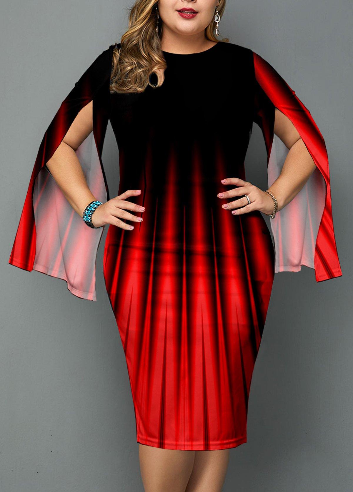 Plus Size Ombre Slit Sleeve Dress