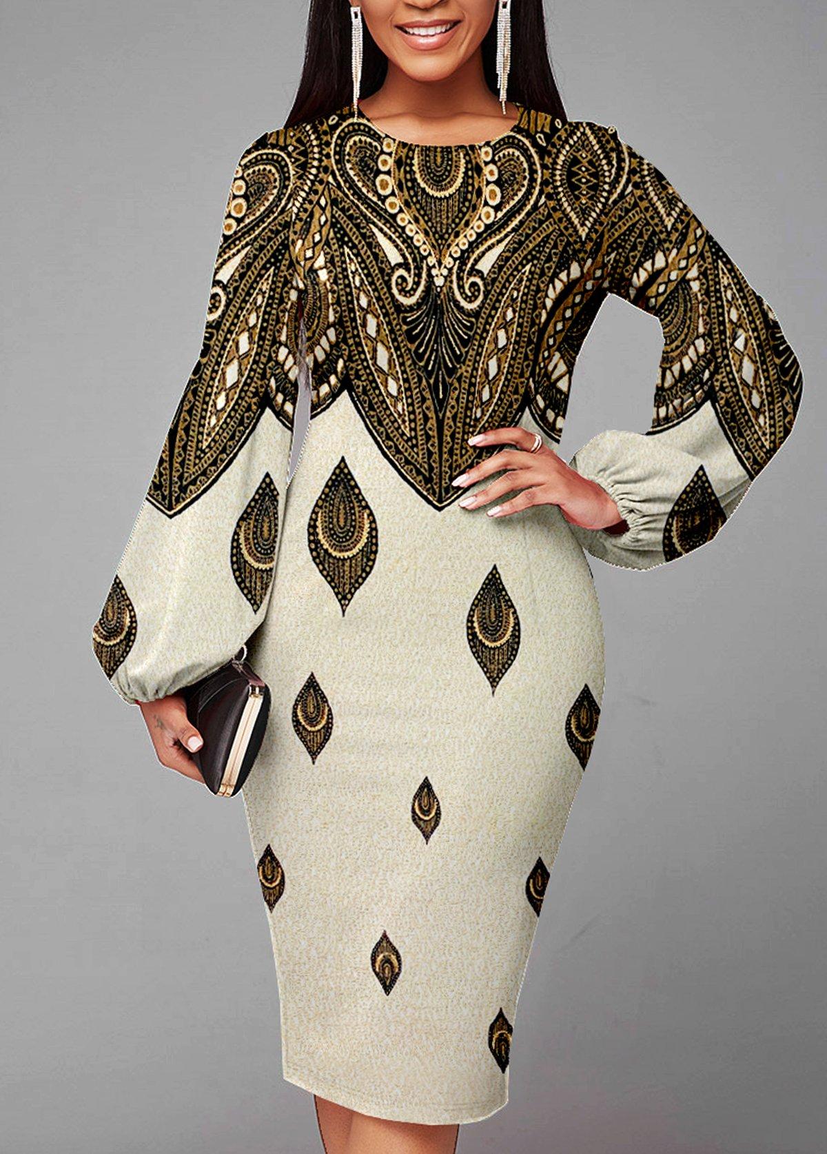 Lantern Sleeve Foil Print Texture Knitted Dress
