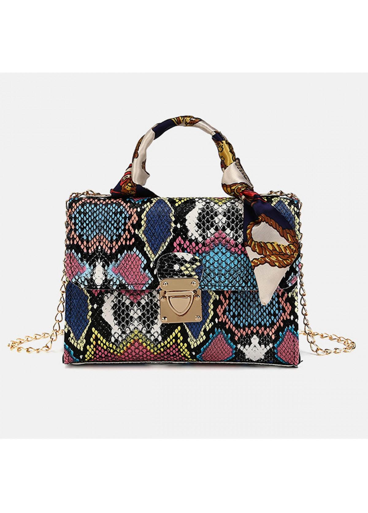 Snake Print Gold Chain PU CrossBody Messenger Bag