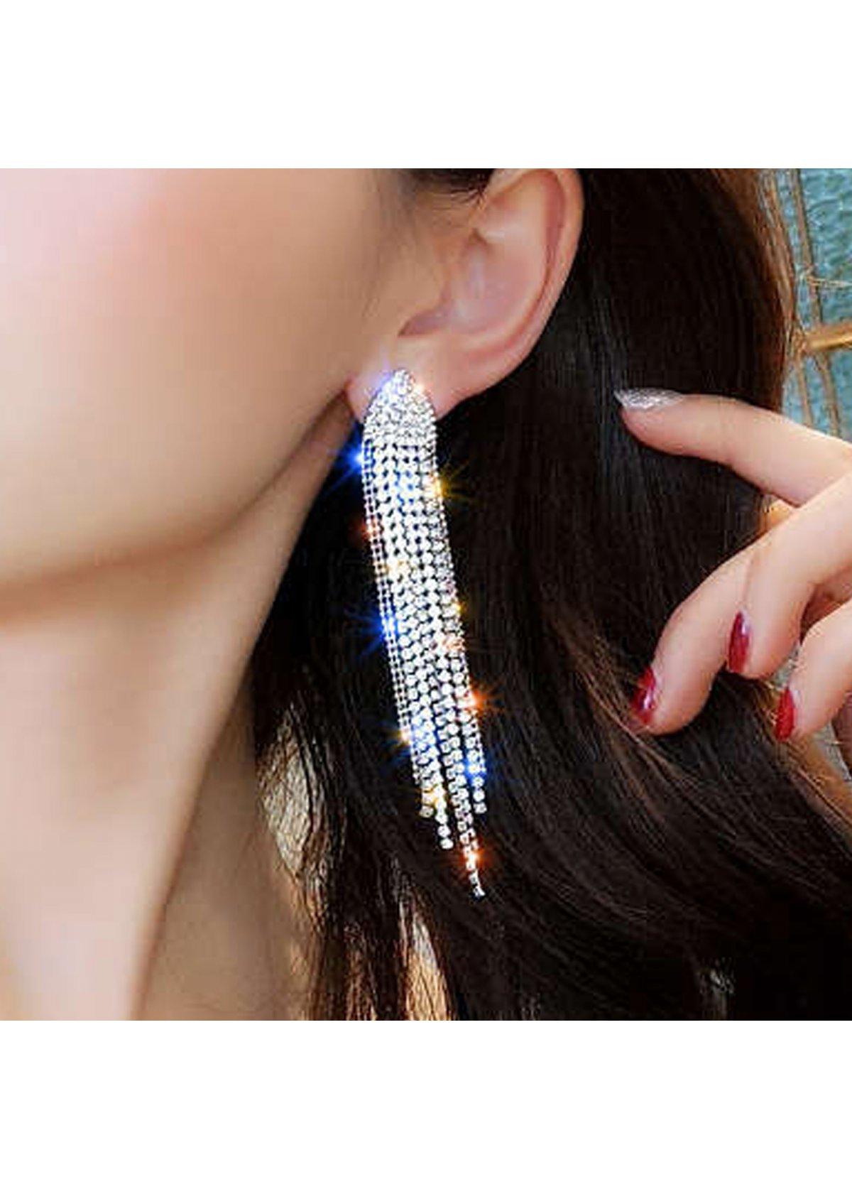 Silver Rhinestone Tassel Design Earring set