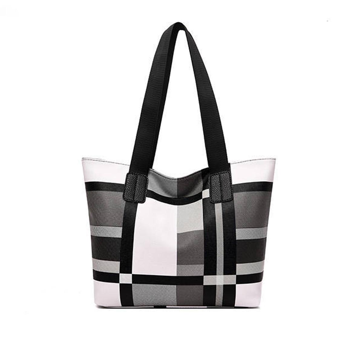 Plaid Wide Strap Zipper Closure Tote Bag