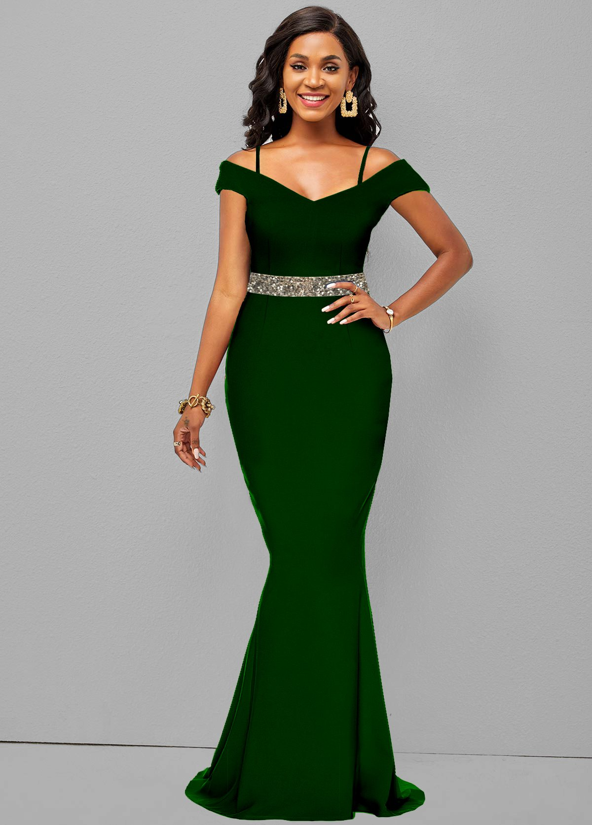 Sequin Strappy Cold Shoulder Mermaid Dress