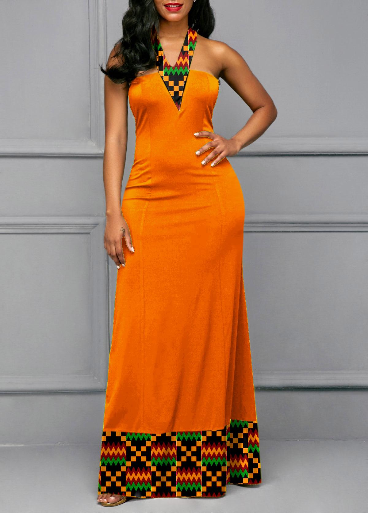 Tribal Print Tie Back Maxi Dress