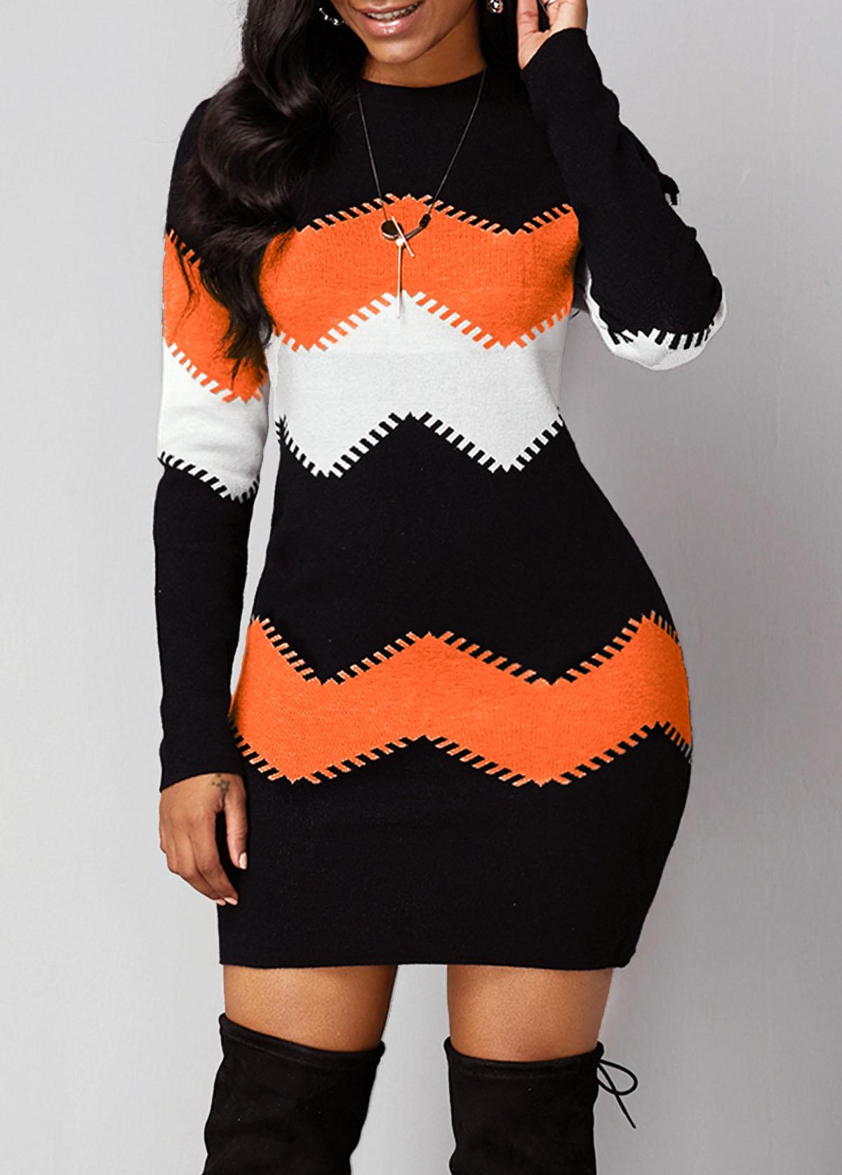 Long Sleeve Chevron Print Round Neck Sweater Dress