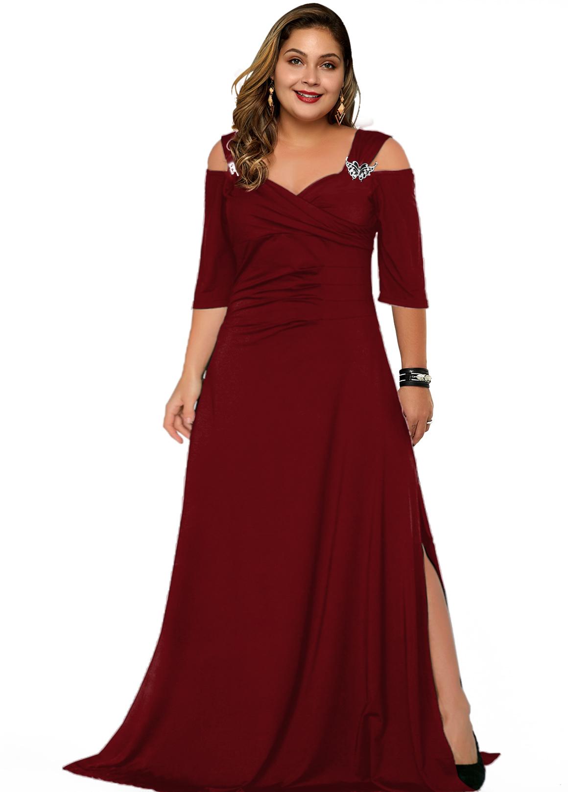 Cold Shoulder Plus Size Solid Dress