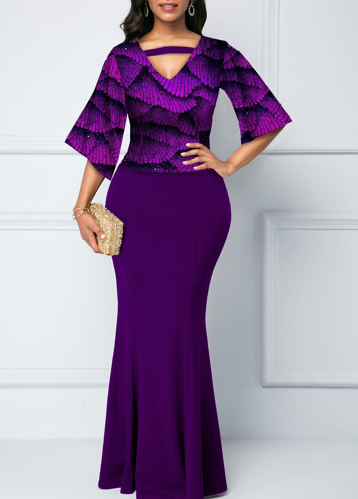 Hot Stamping Print Sequin 3/4 Sleeve Mermaid Dress
