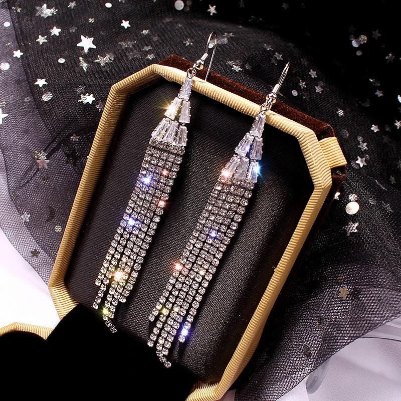 Tassel Design Rhinestone Silver Earring Set