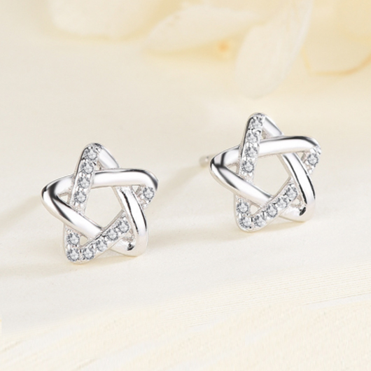 Silver Satr Rhinestone Detail Earring Set