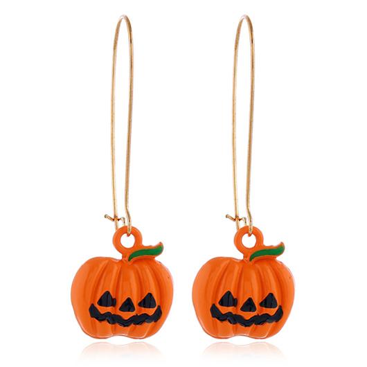 Pumpkin Design Metal Detail Orange Earrings