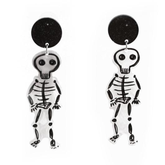 Skeleton Design Acrylic White Earring Set