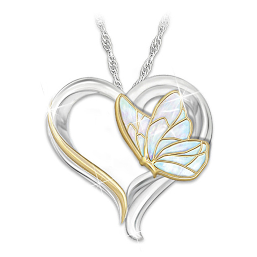 Heart Design Butterfly Detail Metal Necklace